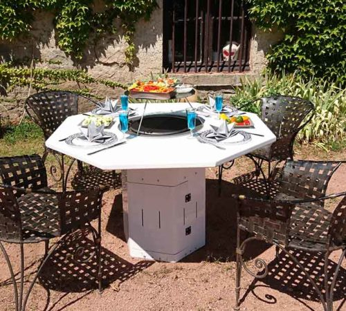table plancha octogonale blanche - mobigrill
