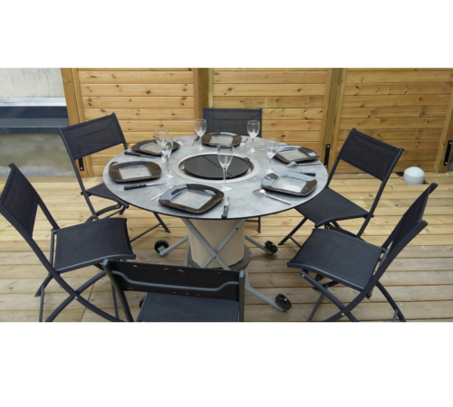 table plancha ronde mobigrill 6 places