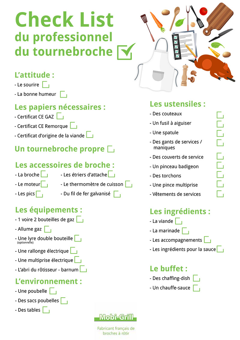 check list rotisseur checklist prestation rotisserie traiteur