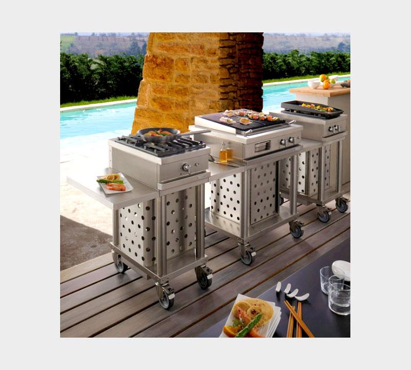 Cuisine d'extérieur Cuisine d'été barbecue Cuisine d'été couverte moderne Fabrication française Open'Cook Mobi-Grill