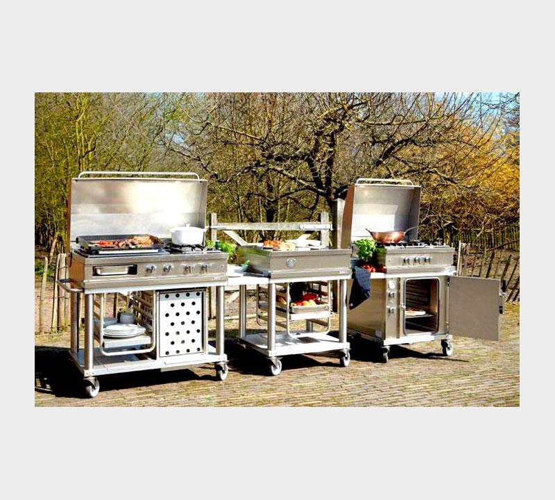 Cuisine extérieure modulable Cuisine d'été en kit Plancha professionnelle Fabrication française Open'Cook Mobi-Grill