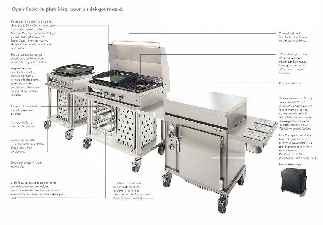 Cuisine d'été inox, Plancha gaz sur chariotFabrication française Open'Cook Mobi-Grill