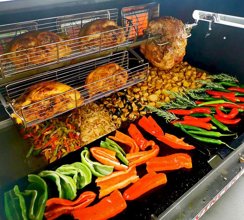 balancelles panier cuisson barbecue sur remorque mobi-grill